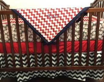BLOWOUT SALEBaseball And Chevron Navy Blue Red Crib Bedding