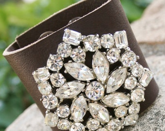 Brooch Cuff Bracelet, Leather Bracelet, Boho Jewelry, Re Purposed Vintage Jewelry, Vintage Cuff Bracelet, Leather Cuff