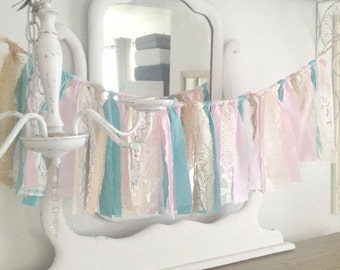 Shabby Chic Pink and Teal Garland, Shabby Chic Wedding Garland, Teal Baby Shower Garland, Shabby Chic Party Garland, Teal Wedding