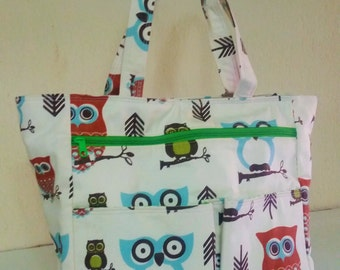 Diaper bag tote// Premier Prints Hooty Owl Village//Neutral