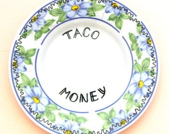 Taco Money Box Ring Dish Trinket Holder Spare Change Collection Plate Foodie Gift for Her Funny Birthday Present Fast Food Hungry Hangry