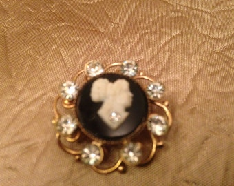 Black and White Cameo Brooch