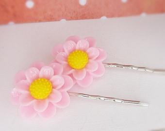 Hairpins • meadow flowers • pink