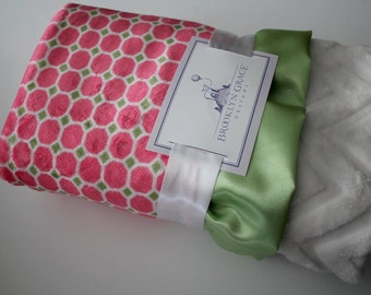 Izzy Tile Pink and Lime Print with Embossed Chevron in White, Minky Blanket, Nursery, Baby Blanket, Throw, Crib Bedding