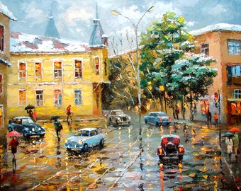 First snow OIL PALETTE KNIFE on canvas Painting by Dmitry Spiros. 32x24 in. 80 x 60 cm
