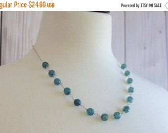 Christmas in July Sale - Blue Jade Necklace - Jade Necklace - Dyed Jade Necklace - Blue Dyed Jade Necklace - Silver Jade Necklace - Jade Bea
