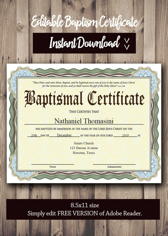 Editable baptism certificate template pdf adobe reader editable baptism certificate template pdf adobe reader editable file printable certificate template instant download yelopaper Images