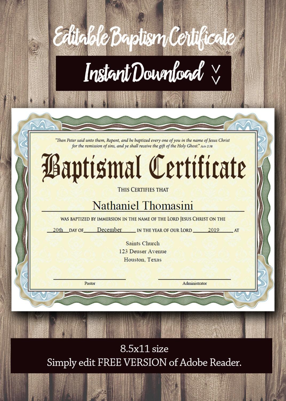 baptism certificate template pdf adobe reader editable file. Black Bedroom Furniture Sets. Home Design Ideas