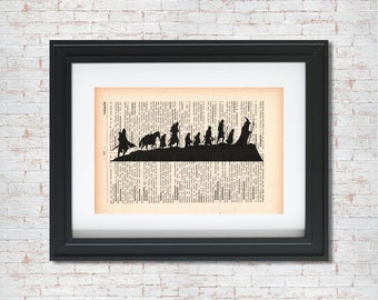Fellowship of the Ring from Lord of the Rings Silhouette Dictionary art print - Upcycled dictionary art - Book print page art #018