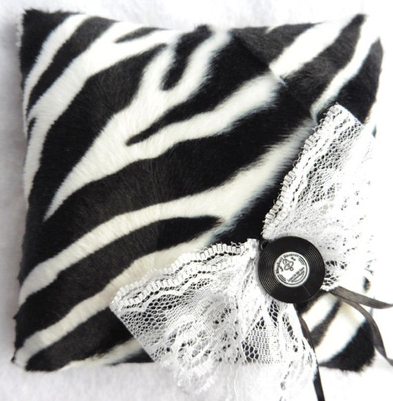 wedding ring pillow rockabilly zebra rock pin up
