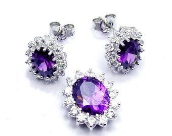 Elegant Amethyst Set CZ & .925 Sterling Silver Earrings and Pendant Set , W106 The Silver Plaza