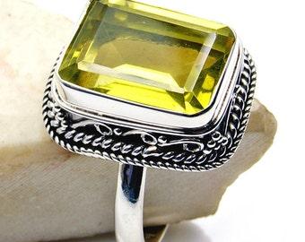 November Birthstone Citrine & .925 Sterling Silver Ring Size 8.25 ; X567