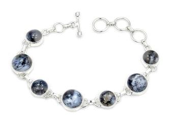Dendritic Opal & .925 Sterling Silver Bracelet , AD473