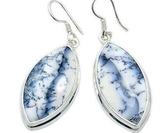 Beautiful Dendritic Opal & Sterling Silver Dangle Earrings ; AE162