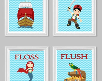 Pirate Bathroom, Kids Wall Art, His/Hers Kids Bathroom, Boy/ Girl