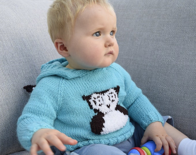 Owl Knitting Pattern,  Child's Hoodie with Owl, Hoodie Knitting Pattern, Children's Knitting Pattern