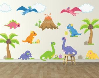 Dinosaur Wall Decal for Kids Bedroom - Girls Dinosaur Room - Dinosaur Wall Decal - Girls Room Wall Decal