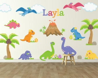 Dinosaur Wall Decal For Kids Bedroom   Girls Dinosaur Room   Dinosaur Wall  Decal   Girls