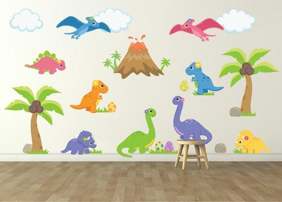 Dinosaur wall decal for kids bedroom girls dinosaur room for Dinosaur wall decals for kids rooms