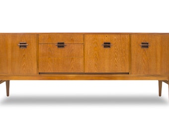 Beautiful 7ft Credenza or Media Console with rosewood pulls. MCM S567