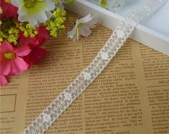 Wholesale lot 14yds ivory embroidered lace trim DIY wedding dress 1.3cm