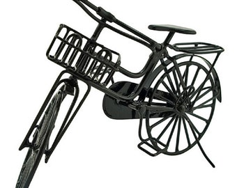 Miniature Black Metal  Cycling Bicycle Bike 1/12 Doll's House Dollhouse
