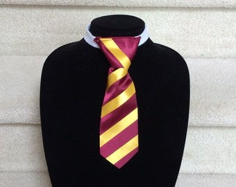 Harry Potter Costume Tie for Toddlers: Toddler WIDE Striped NO Collar Tie for Gryffindor, Hufflepuff, Ravenclaw, Slytherin; Photo Prop Tie