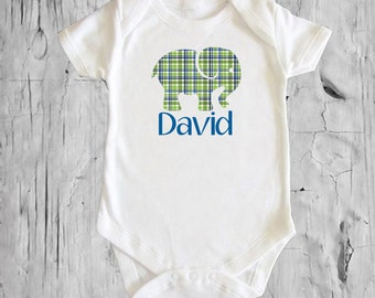 Elephant Blue Green Plaid Personalized white onsie Snap bottom all in one bodysuit