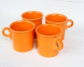Vintage Fiesta Tangerine Tom & Jerry Handle Mugs- Set of Four