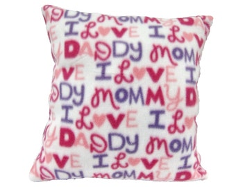 Mommy Daddy Pillow, Cozy Soft Specialty, Novelty, Girl, Gift, Baby Personal Message