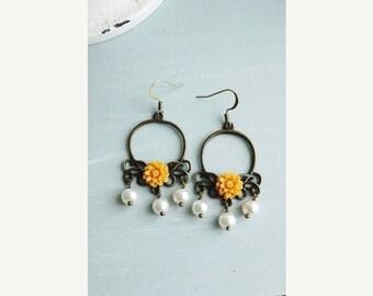 ON SALE Earrings, Mustard Yellow resin flower and pearl brass dangle earrings
