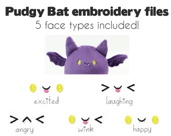 Embroidery machine files - plush Pudgy Bat face eyes  - kawaii plushie faces for stuffed animal PES JEF digital download
