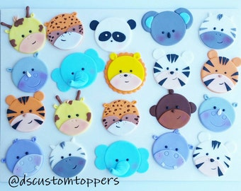Jungle and Safari cupcake toppers.  Zoo Baby shower.  Baby shower