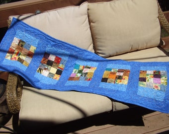 Blue Quilted Table Runner 18 X 54 1/2