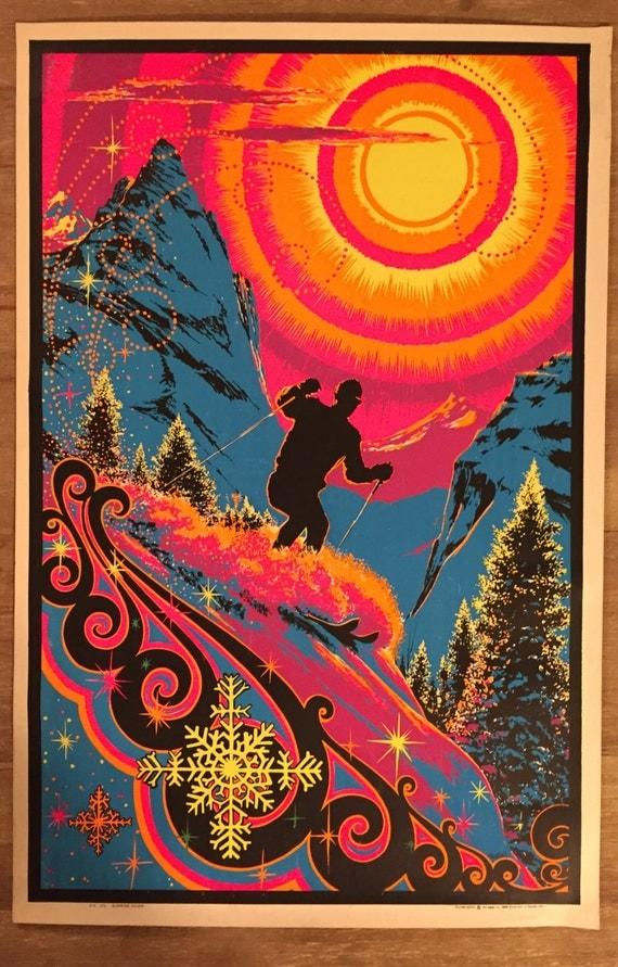 Vintage 1960s Sunrise Skier Black Light Poster
