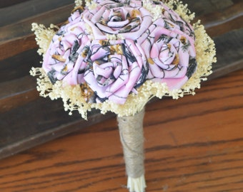 Pink Camo Bridesmaid Bouquet, Pink Camo Bouquet, Browning Wedding, Hunting Wedding