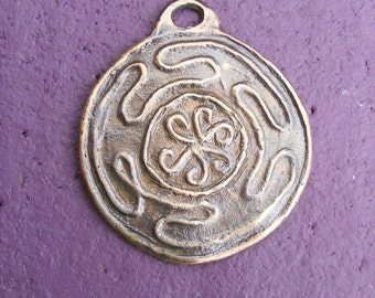 Hekate's Wheel Bronze Pendant Handmade by the Green Man