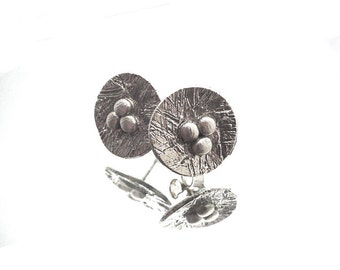Bird nest silver sculpted art clay silver earrings, earstuds home birdnests, sterling silver pins, silver cirkles, organic earrings, organic