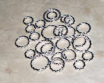 6, 8, 10MM Fancy Twist Bright Silver Plated Open Jump Rings