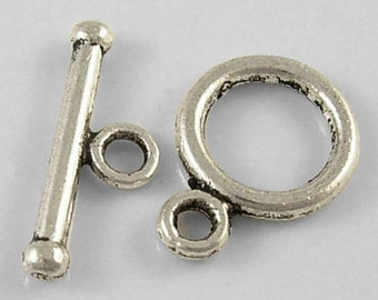 5 Antiqued Silver Tiny Simple Toggle Clasp Sets
