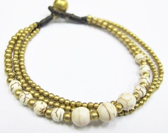 Beaded Bracelet - Multi Strand White Howlite Bead and Brass Bead Bracelet
