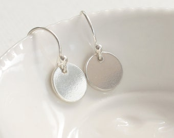 Handmade Sterling Silver Simple Disk Drop Earrings