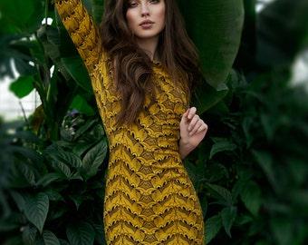 Boho Bridesmaid Dress, Yellow Dress, Mustard Dress, Plus Size Clothing, Boho Chic Dress, Formal Evening Dress, Bodycon Dress, Pencil Dress