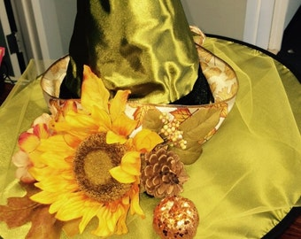 Green Witch Hat with Sunflower AUTISM FUNDRAISER