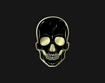 "Black/Gold Skull 1.25"" Enamel Pin"