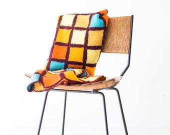 colorful afghan, vintage afghan, vintage blanket, granny square blanket