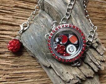 UGA Bulldogs memory locket bracelet: Georgia Bulldogs charm bracelet