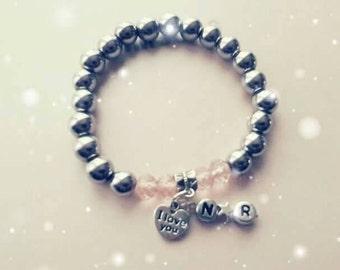 Valentine bracelet with couple initials