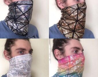 Glitter Ninja Face Mask - Dust Mask - Snowboarding - Headband
