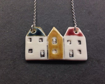 Porcelain terraced house necklace